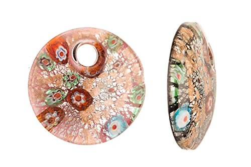 Millefiori Glass Pink Base Round Lampwork Glass Pendant 51x11.5mm Art Glass Focal Bead