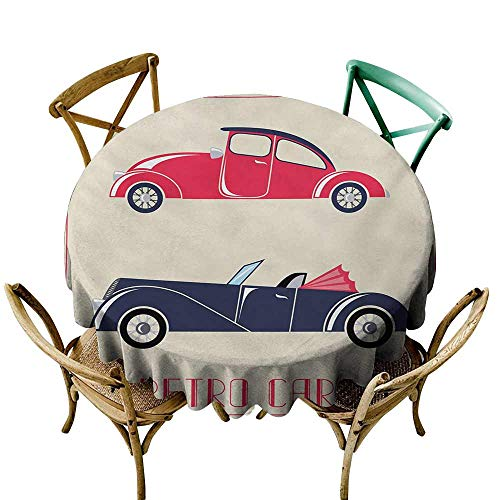 (Table Cover Home Decoration Cars,Old Fashioned Cars Convertible Urban Vehicles Classical Roadsters,Dark Coral Night Blue Pink D70,Modern Washable Tablecovers)