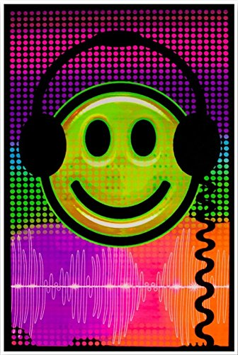 Earphones Emoji Cool Blacklight Poster 23 x 35 in