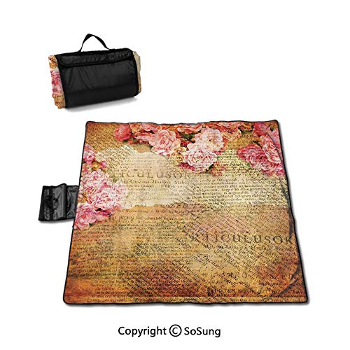 Roses Decorations Picnic Blanket with Tote,Artsy Work Combined with Roses and Old Love Letters in Nostalgic Design Antique Sandproof & Waterproof Picnic Mat Tote for Camping Hiking Grass Travelling,Pi