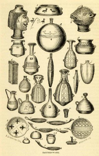 1856-wood-engraving-earthenware-peruvian-vessels-sculpture-ornamental-design-art-original-engraving