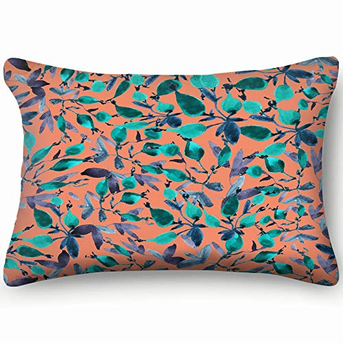 X-Large Zippered Pillow Covers Pillowcases Pattern Red Rosehips Berries Green Antioxidant Pillow Cases Cushion Cover for Home Sofa Bedding Bed Car Seats Decor 16 X 24 Inch