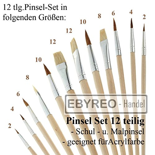EbyReo® | Pinsel-Set 12 teilig, Schulpinsel für Acryl / Wasserfarbe | Borstenpinsel | Haarpinsel