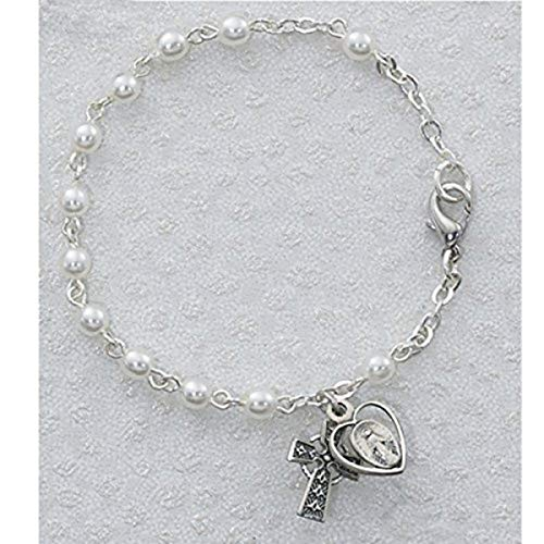 (McVan White Prayer Bead Rosary Bracelet with Celtic Cross and Chalice Charm, 6 1/2 Inch)