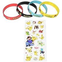 Bundle (16 Count) Pokemon Style Party Supplies Silicone Wristband Bracelet Favors & BONUS (16 Sheets) Pokemon Style Stickers