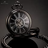 Pretty Birdy Antique Black Skeleton Dial Black Alloy Case Analog Hand Wind Clock Necklace Steampunk Men Mechanical Pocket Watch