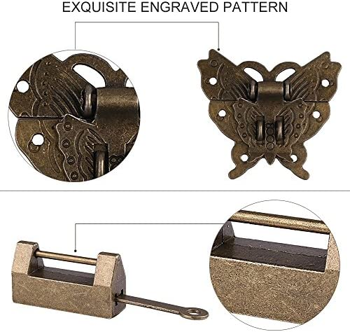 Box Corner Protectors Vintage Lock Latch Hasp with Padlock Pull Handle and Hinges Delicate Hardware Kit Chinese Classical Culture Little Butterfly Pattern