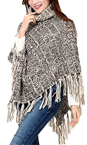 ZHENZHONG Brown Tassel Crochet Poncho Turtle Neck Sweater Cape Coat Blanket ()