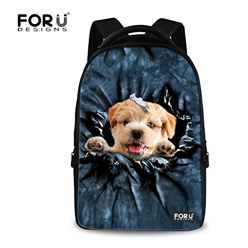 FOR U DESIGNS Cool Puppy Dog Print Casual Students Outdoor Creative Backpack Men Women Large (Cool Anime Bookbag compare prices)