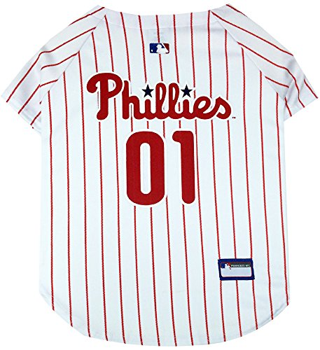 Pets First MLB Philadelphia Phillies Dog Jersey, Small. - Pro Team Color Baseball -