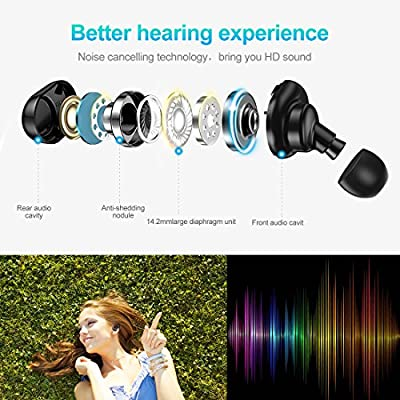 Wireless Earbuds,3D Stereo Sound Deep Bass True Wireless Mini in-Ear Earbuds Sports Bluetooth Headphones Earphones Earbud Sweat Proof Headset Built-in Microphone iOS Mac Android (Black)