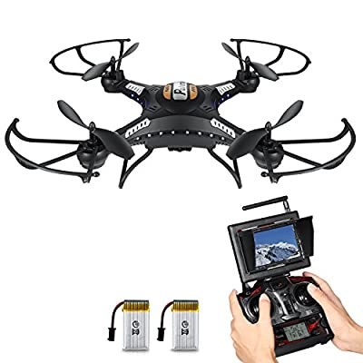 RC Quadcopter, Potensic F183DH Drone RTF Altitude Hold UFO with Newest Hover Function,2MP Camera& 5.8Ghz FPV LCD Screen Monitor from Potensic