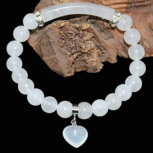 FidgetKute 8mm Natural Moonstone Bracelet w/Curved Columnar Bead and Heart Pendant 7.8