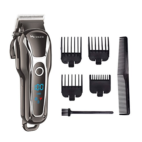 SURKER Cordless Hair Clippers Man's Grooming Kit Haircut Kit For Men Beard Trimmer Shaver Rechargeable With LCD Display Black Heavy by Surker