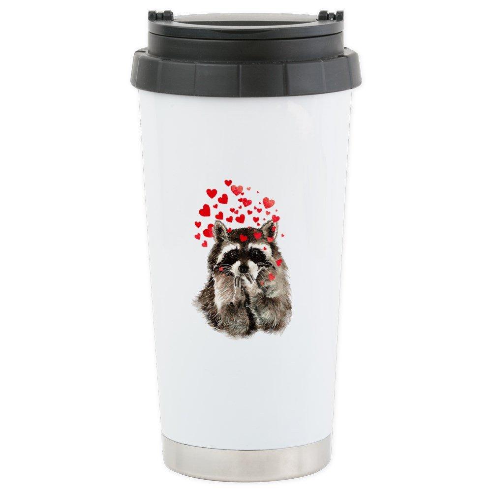 CafePress - Raccoon Blowing Kisses Cute Animal Love Travel Mug - Stainless Steel Travel Mug, Insulated 16 oz. Coffee Tumbler