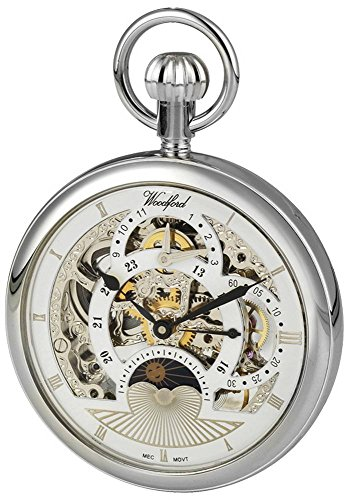 - Woodford Mens Chrome Plated Twin Time Zone Open Face Skeleton Mechanical Pocket Watch - Silver