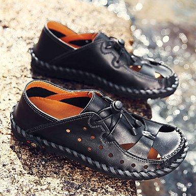 SHOES-XJIH&Hombre de sandalias de verano tacón plano ocasional de látex otros negro azul marrón gris otros,Negro,US10.5 / UE43 / UK9.5 / CN45