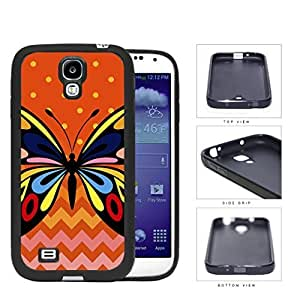 Colorful Art Butterfly with Orange Polka Dot and Chevron Pattern in Background Hard Rubber TPU Phone Case Cover Samsung Galaxy S4 I9500