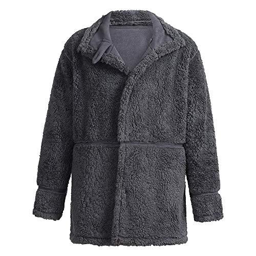 Epais Velours Osyard Coton Manteau Bouton Chaud Homme Veste Blousons Longues Mode Hiver Gris En Manches xqaIFaU