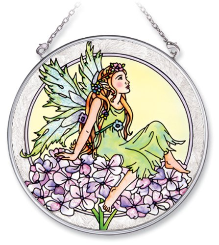 Amia Handpainted Glass Hydrangea Fairy Suncatcher, 4-1/2-Inch (5832)
