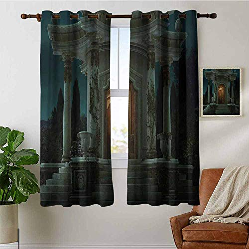 Kitchen Curtains Gothic,Roman Pavilion Lantern Ivy on Pillars Under Dome Medieval Architecture Mystic Theme,Dark Ivory,Rod Pocket Drapes Thermal Insulated Panels Home décor 52