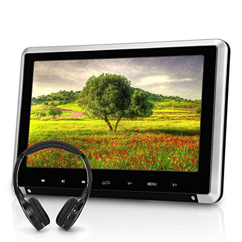 NAVISKAUTO 10.1 Inch Car Headrest DVD Player HD 1080P TFT LCD Screen Headrest Monitor with HDMI Port and Remote Control and Cigar Lighter Charger and IR Headphone (CH1008B+Y0101) (Headrest Tv Dvd Players)