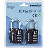 Combination Lock By SimbaLux (Set Of 2): 4-Digit Padlock For Extra Security, Easily Resettable, Heavy Duty Steel/Zinc Alloy Lock - For Gym And School Locker, Toolbox, Gate, Fence, Luggage, Suitcase
