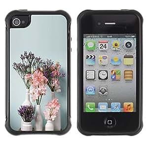 Suave TPU GEL Carcasa Funda Silicona Blando Estuche Caso de protección (para) Apple Iphone 4 / 4S / CECELL Phone case / / Art Flowers Vases White /
