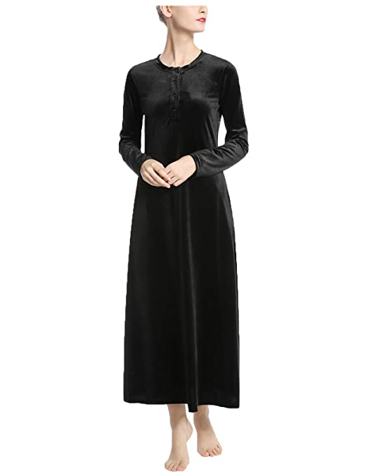 AMONIDA Luxurious Velvet Long Nightgown for Women Button Up Pajama at  Amazon Women s Clothing store  505ccde93