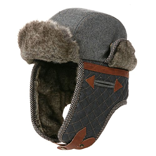 74839f5d2eba9 SIGGI Winter Wool Russian Bomber Hat Men Earflap Trapper Hat Faux Fur  Ushanka Grey