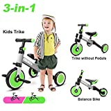 KORIMEFA 3 in 1 Kids Trike for Children 1-3 Years Old Kids Tricycle Boys Girls Baby Balance Bike 2 Wheels for Toddlers Tricycle with Removable Pedals, Green