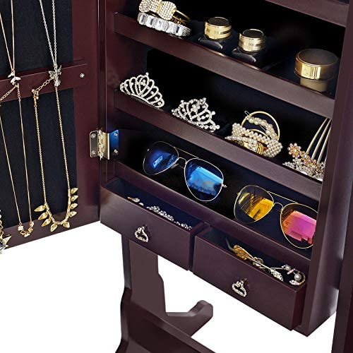 clothing, shoes, jewelry, shoe, jewelry, watch accessories, jewelry accessories, jewelry boxes, organizers,  jewelry armoires 9 on sale SONGMICS 6 LEDs Mirror Jewelry Cabinet Armoire, Lockable promotion