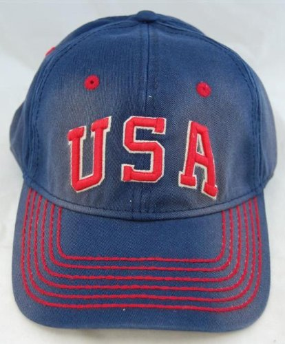 Team USA Retro Logo Embroidered Navy Washed Twill Cap by American Needle American Needle Embroidered Cap