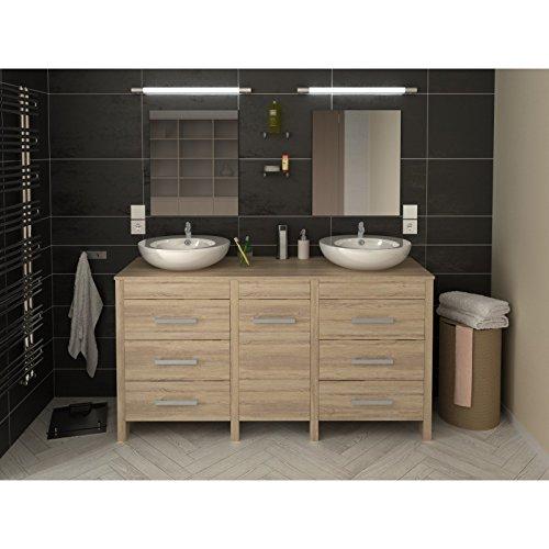 meuble de salle de bain hero double vasque 150 cm finition chêne ... - Finition De Salle De Bain
