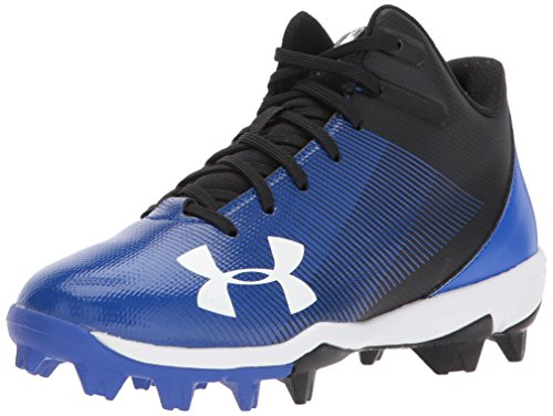 Under Armour Boys' Leadoff Mid Jr. RM Baseball Shoe, Black (041)/Team Royal, 10K