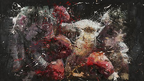 Shai Yossef Unframed Amazing Extra-Large Painting Print on Canvas by The Artist, Wall Art Decor,Decorative,Art Collectibles,Sports Boxing Wild Art 100/55cm (39.3