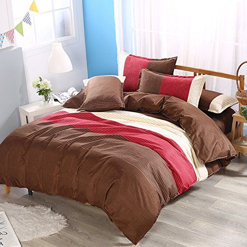 Cheap  Contemporary Stripe Duvet Cover Set - Brown Stitching Color Design Polyester Bedding..