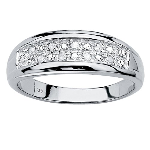 Men's Platinum over Sterling Silver Round Genuine Diamond Double Row Wedding Band Ring (1/8 cttw, I Color, I3 Clarity) Size 13
