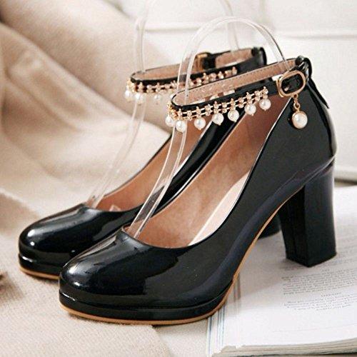 Salon Zanpa Black Mujer caviglia Tacon Ancho 1 de Dulce t7ZqB7
