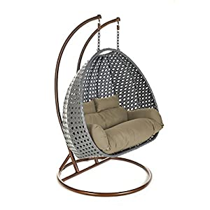 Polyrattan Twin Hanging chair Grey Home Deluxe