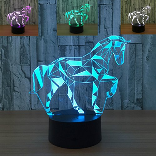 3D Horse Lamp Night Light 7 Color Change LED Table Desk Lamp Acrylic Flat ABS Base USB Charger Home Decoration Toy Brithday Xmas Kid Children Gift
