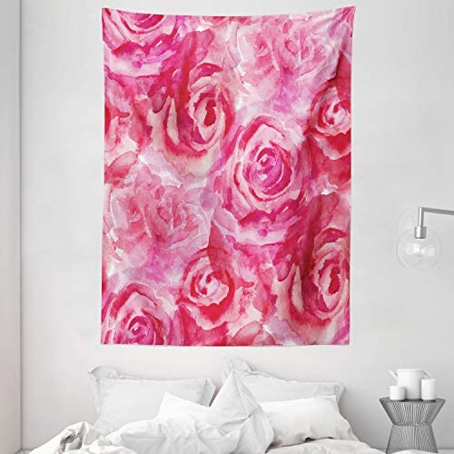 Ambesonne Watercolor Flower Tapestry, Mixed Roses Painting Vivid Colors Romantic Floral Design Ornate Nature Theme, Wall Hanging for Bedroom Living Room Dorm, 60 X 80 , Pink