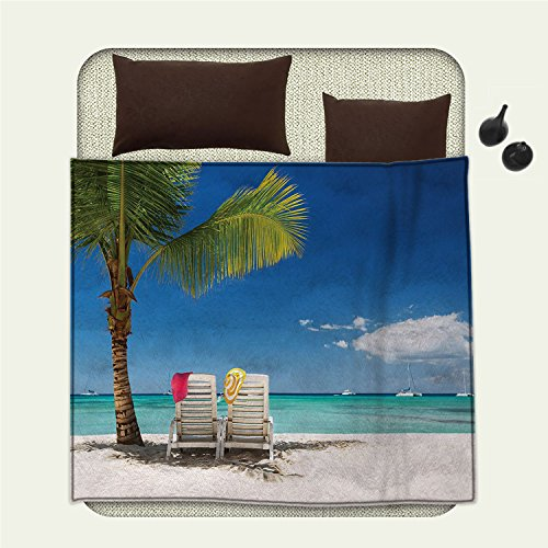 smallbeefly Seaside waterproof blanket Relaxing Scene on Remote Beach with Palm Treeplush blanket Chairs And Boats Panoramic - Palm Sectional Beach