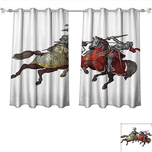 Qinqin-Home Blackout Living Room/Bedroom Window Curtains Middle Age Fighters Knights with Ancient Costume Renaissance Period Illustration Artwork Multi Blackout 2 Panels (W55 x L63 -Inch 2 Panels) -