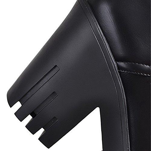 con con Negra sólidas parte punta AgooLar suave mujer cerrada Tacones superior Material Punta altos para Botas estrecha UEnFT