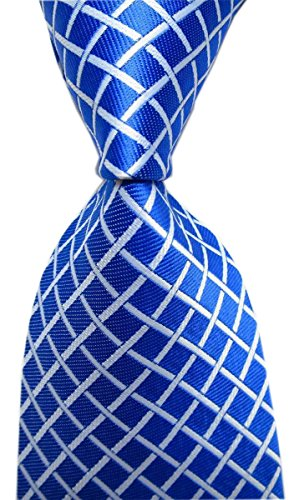 Elfeves Men's Royal Blue Check White Striped Neck Tie Accessory Evening -
