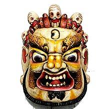 CraftVatika's Large Mahakala Wall Hanging Buddhist Protective Mask, Multicolored Wooden Nepal Tibet Buddha Bhairav Shiva Wall Sculpture, Buddhism Old Vintage Statue Head Face