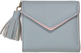 Miaomiaogo PU Leather Leather Tassel Short Wallet Solid Color Hasp Trifold Wallet Coin PU Leatherrse pour femme