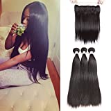 Brazilian Straight Hair Bundles with Frontal 13x4 Ear To Ear Lace Frontal with Straight Hair 3 Bundles with Free Part Frontal Natural Color (14 16 18 With 12 Frontal)