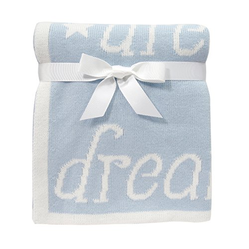 Lambs & Ivy Dream Sweater Knit Blanket, Blue/White